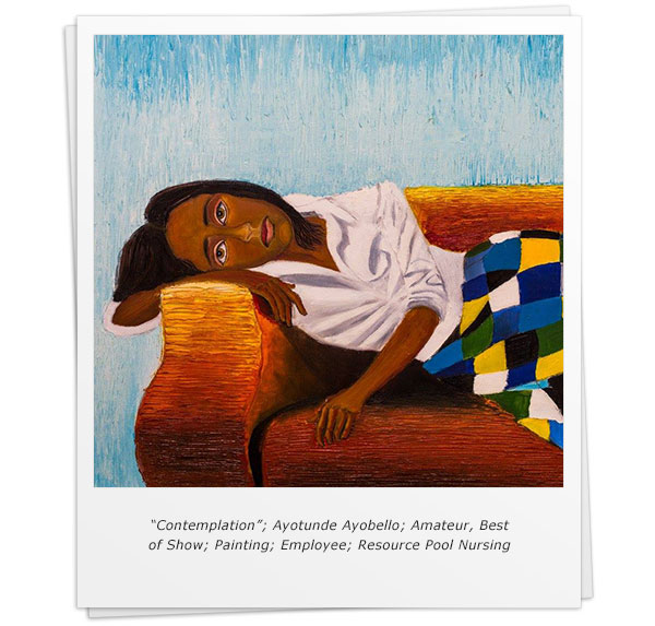 """Contemplation""; Ayotunde Ayobello; Amateur, Best of Show; Painting; Employee; Resource Pool Nursing"