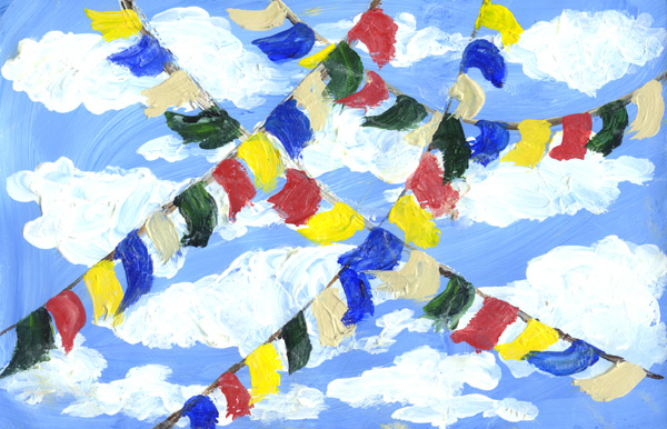 painting of prayer flags at the Maui Dharma Center