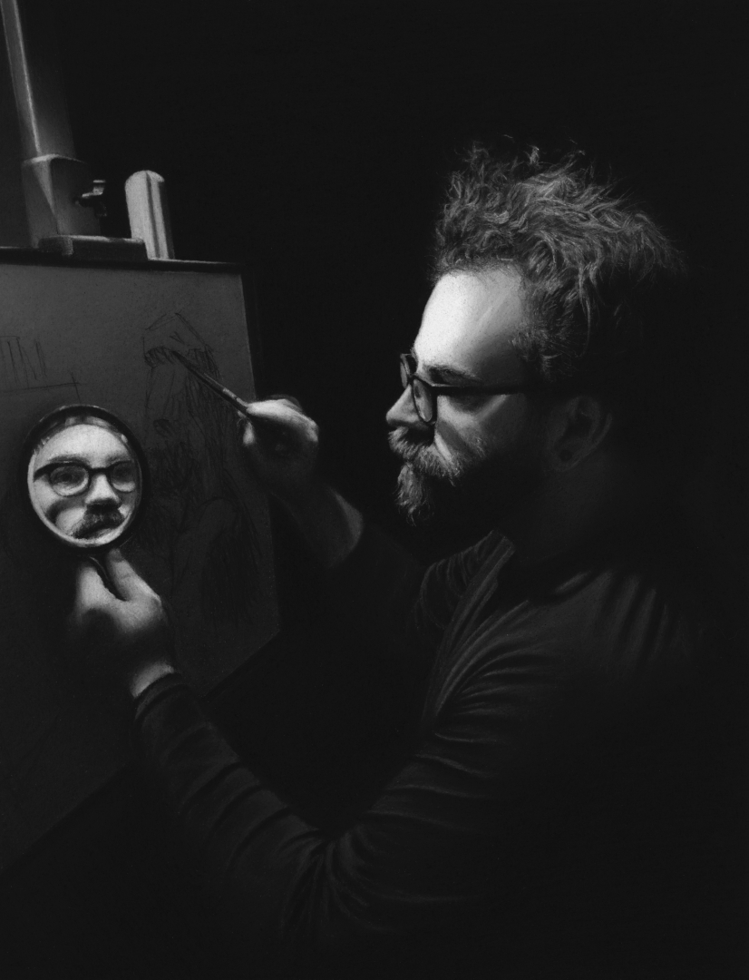 Maxwell Miller - charcoal self portrait 2020