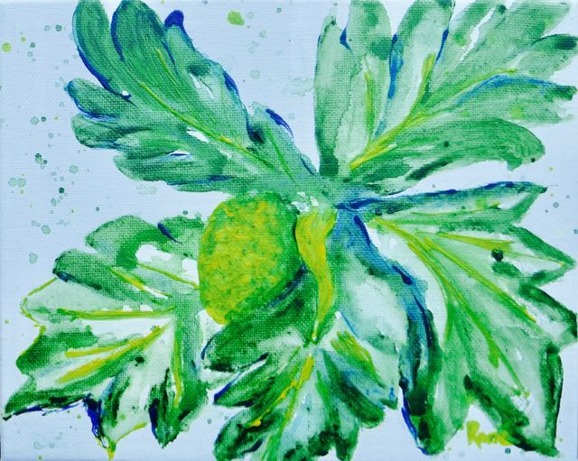 watercolor style acrylic painting of fruit and large leaves