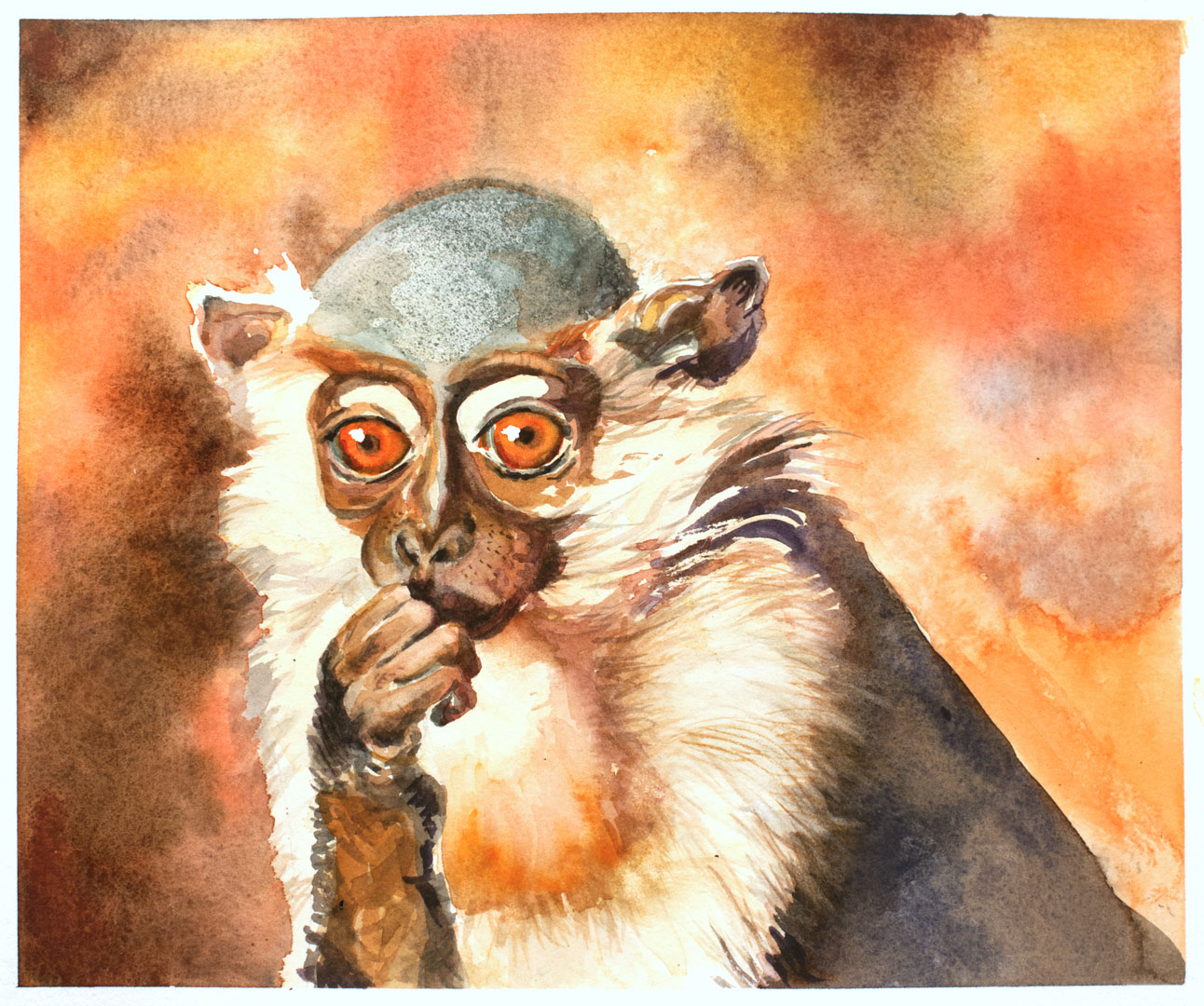 Uncle Monkey watercolor painting