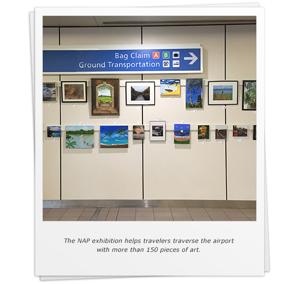 The NAP exhibition helps travelers traverse the airport with more than 150 pieces of art.
