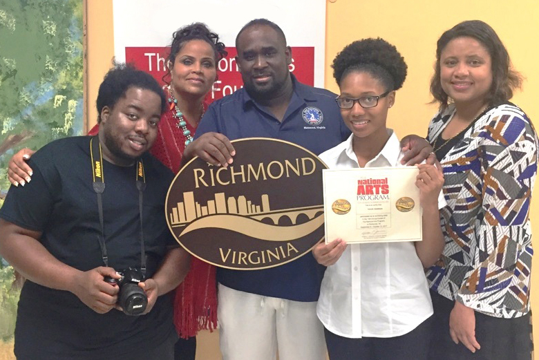 From Left: Jarazz Jenkins, NAP Intern; Shaunn Casselle; Raymond Dark; Taylor Robinson, Teen 13-18 Second Place Winner; Ann-Marie Williams
