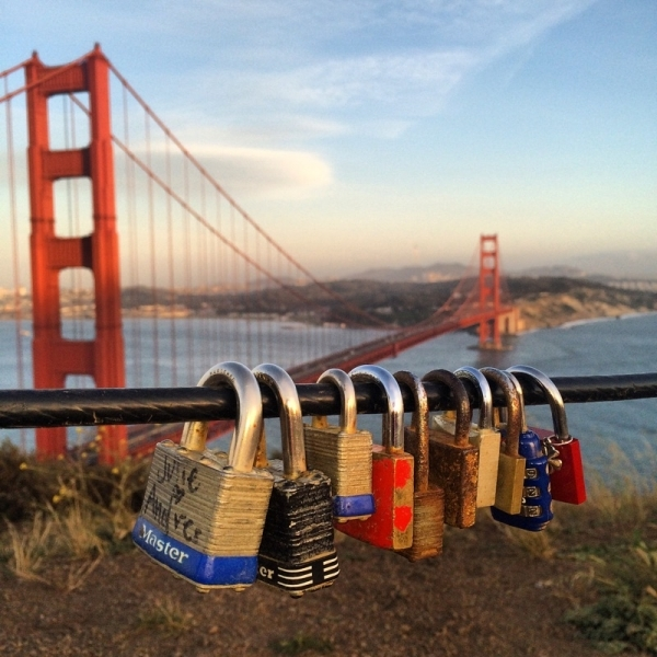 Golden gate bridge love locks the national arts program foundation love locks passing by with a hug and a kiss to san francisco bay sciox Images