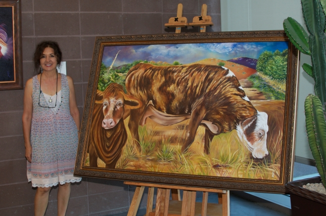 """The Spirit of the Calico Cow -- Oil on Linen, 60"""" x 40"""""""