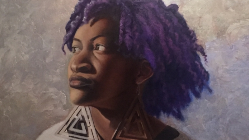 Portrait, oil painting, african american art, natural hair