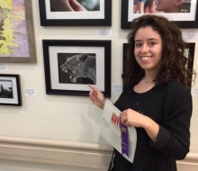 Teen Artist Sarah Weiner poses with her amazing honorable mention winning artwork.