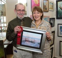 Dr. William Rea proudly displaying his entry with Carilion's Chief Executive Officer, Nancy Agee at their awards reception