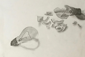 """Edison Shattered""; Pencil"