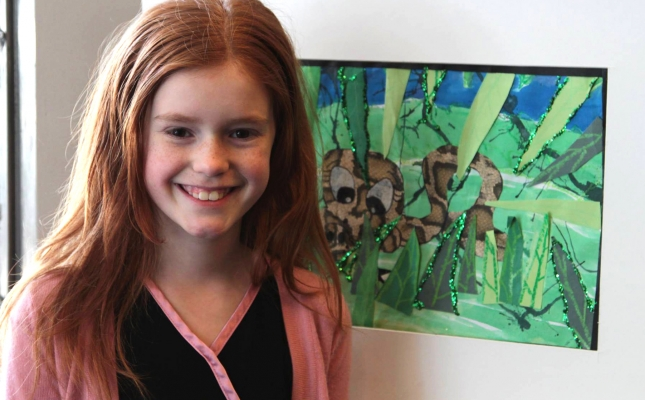 """Snake in the Grass"" Ashley Clow; Youth 12 & Under, Honorable Mention; Works of Paper; Middletown Resident."