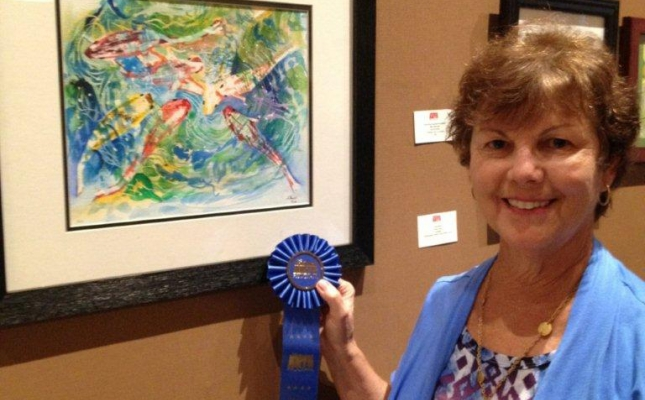 """""""Koi"""" Ann Shaw; Amateur, First Place; Works on Paper Relative; Osceola Arts"""