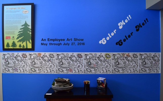 A coloring wall located at the entrance of the depARTures Gallery during their NAP exhibition invites everyone to get coloring!