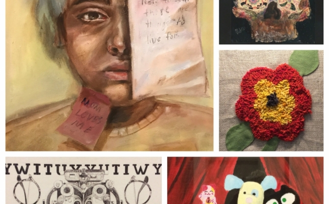 Collage of some of the amazing Youth and Teen category artworks from the UMMC Exhibit this year.