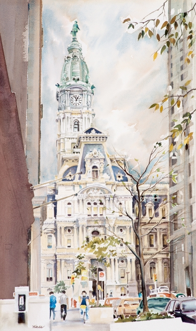"""Looking Up Broad Street"" Artist, Kass Morin Freeman"