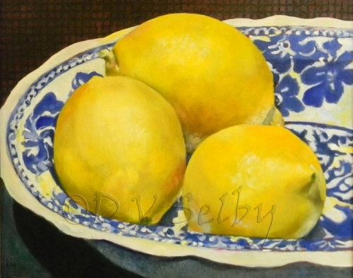 Oil Painting by De Selby of 3 Lemons Bowl view at www.dselby.com