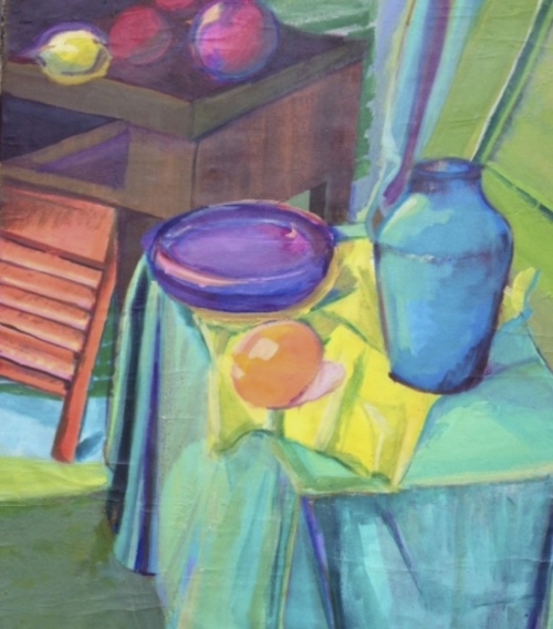 oil painting, bright colors with aqua