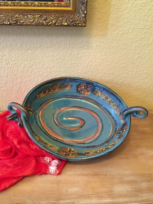 Turquoise Sunset Platter by Robin Gary