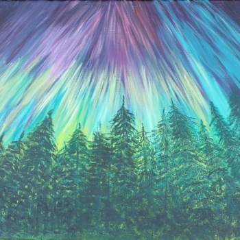 Aurora, forest, pine trees, purple, yellow, turquoise, by Dawn Cooper, Moonscribe