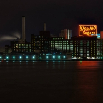 Dominos Sugar Factory Neon Sign at night