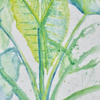 watercolor style acrylic painting of large leaves