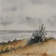 On the Bay, watercolor of winter sky
