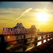 Chesapeake, Bay, Bridge, sun set