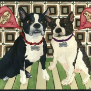 Painting of Buster and Brandy, two Boston Terriers