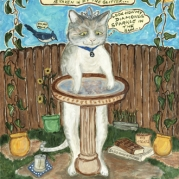 painting of cat named Zazie wearing a tiara and admiring her reflection in the birdbath