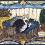 Acrylic on board of two cats in a basket