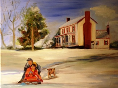 Oil Painting, snow, homestead