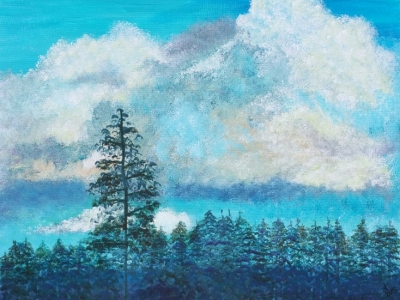 painting by Dawn Cooper, Moonscribe, landscape, California, blue, clouds, sky, trees, pine