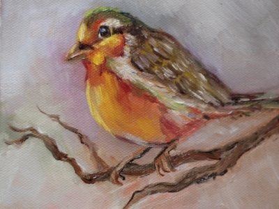 painting, oil, bird