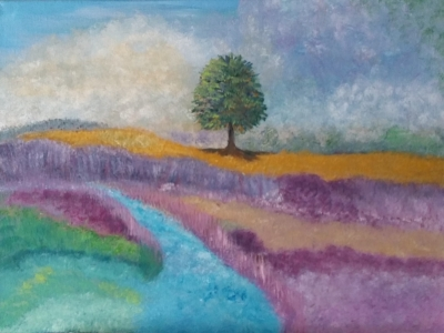 tree, painting by Dawn Cooper, Moonscribe, blue, purple, gold, landscape, clouds