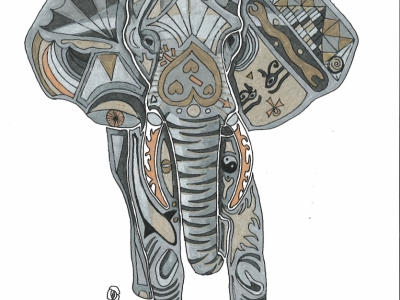 Abstract Elephant spirit animal gel pen and marker.