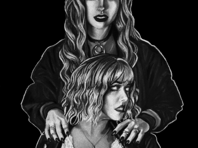 Black and white charcoal drawing of two girls, one standing behind the other. The girl in the front has shoulder length wavy hair and leather jacket. The girl in the back has her hands resting on the girl in the front and has long curly hair. Both girls have a goth/alternative fashion and attitude to them.