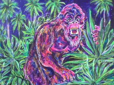 """""""Florida Skunk Ape"""" is one of two pieces submitted and accepted into  The National Arts Program's 2017 art exhibition held at the Orlando International Airport. The exhibition will be held open to the public, at the Orlando International Airport, from August 24 through September 29, 2017, during the hours of 9am - 5pm..  This acrylic painting pays tribute to the photographs and reports of the Florida skunk Ape, utilizing witness descriptions and forensic evidence found at the reported sightings. The skunk a"""
