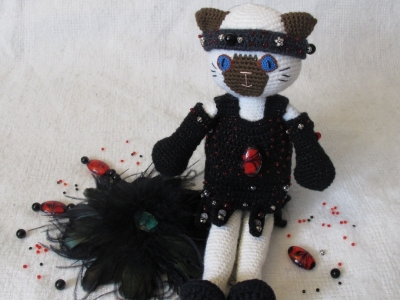 Dahlia; rcohet doll; chocolate point Siamese cat in Roaring 20s themed outfit